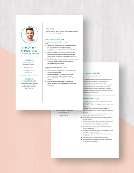 Client Service Associate Resume Download