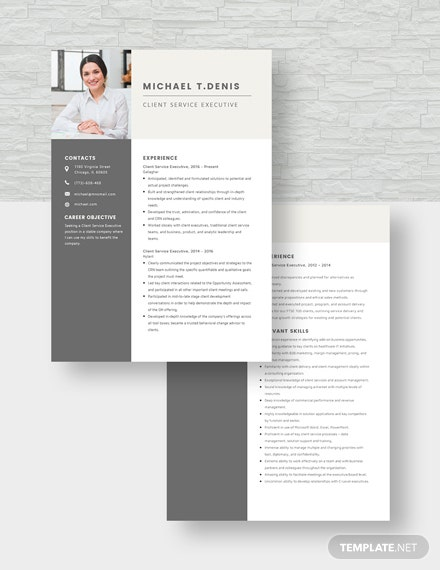Client Service Executive Resume Download