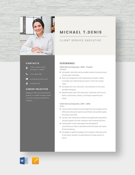Client Service Executive Resume Template