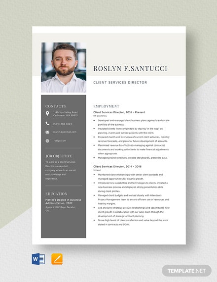 Client Services Director Resume Template