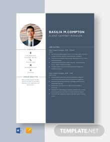 Client Support Manager Resume Template