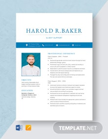 Client Support Resume Template