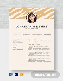 Animal Specialist Resume Template