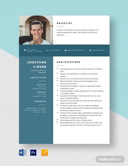 Answering Service Operator Resume Template