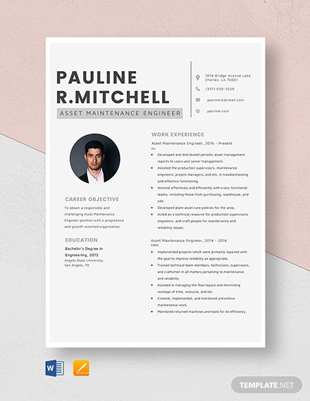 Asset Maintenance Engineer Resume Template