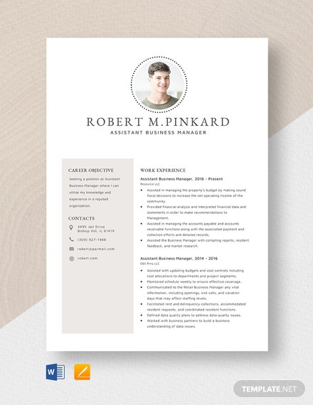 Assistant Business Manager Resume Template