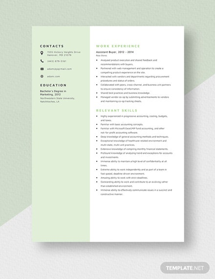 Assistant Buyer Resume Template