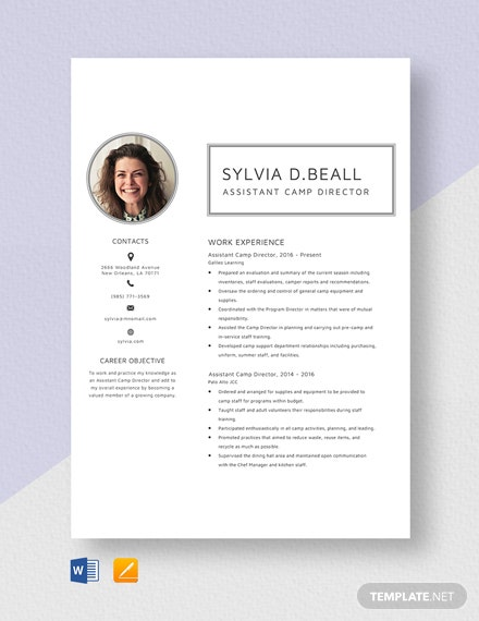 Assistant Camp Director Resume Template
