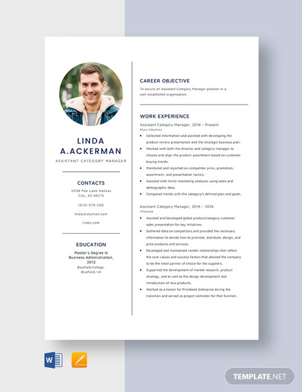 Assistant Category Manager Resume Template