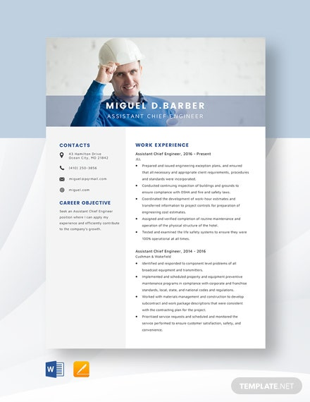 Assistant Chief Engineer Resume Template