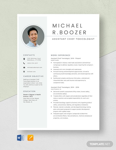 Assistant Chief Toxicologist Resume Template