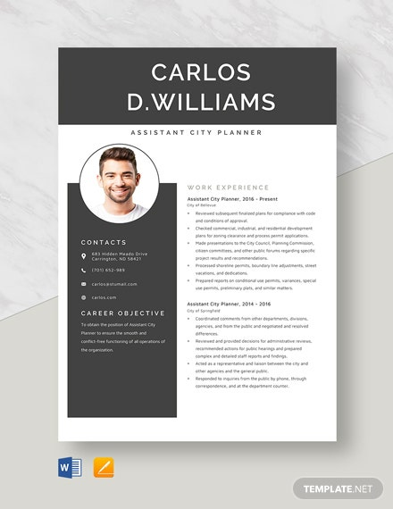 Assistant City Planner Resume Template