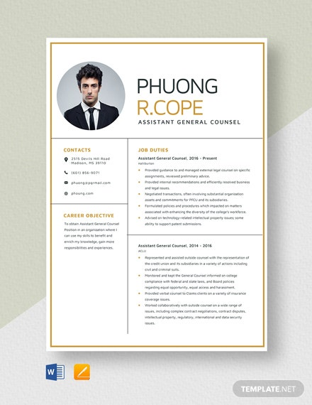 Assistant General Counsel Resume Template