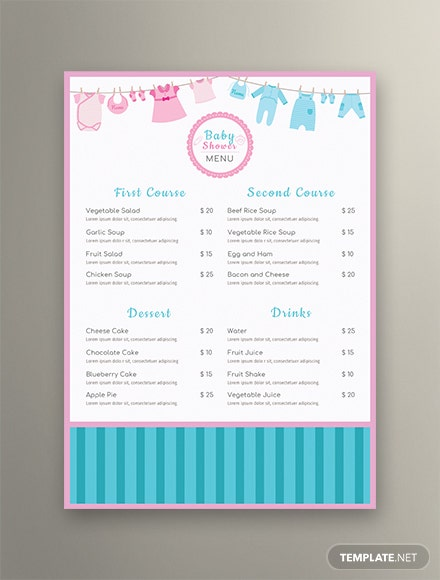 Free Baby Shower Menu template