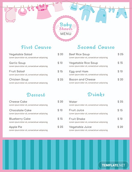 FREE Baby Shower Menu Template Download 36 Menus In PSD Word Publisher InDesign Illustrator Apple Pages