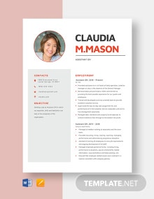Assistant GM Resume Template