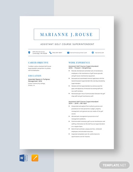 Assistant Golf Course Superintendent Resume Template