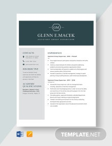 Assistant Group Supervisor Resume Template