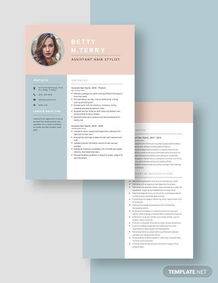 Assistant Hair Stylist Resume Download