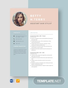 Assistant Hair Stylist Resume Template