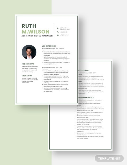 Assistant Hotel Manager Resume Download