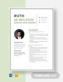 Assistant Hotel Manager Resume Template