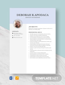 Assistant House Keeper Resume Template