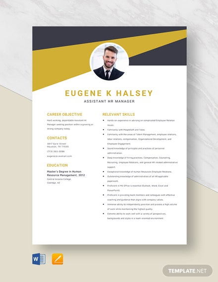 Assistant HR Manager Resume Template