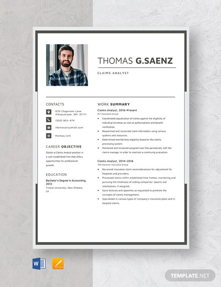 Claims Analyst Resume Template