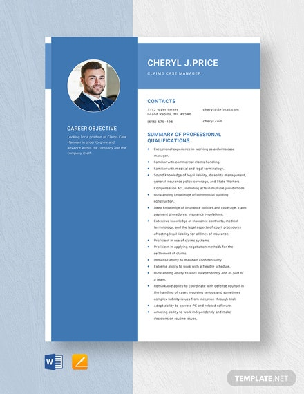 Claims Case Manager Resume Template