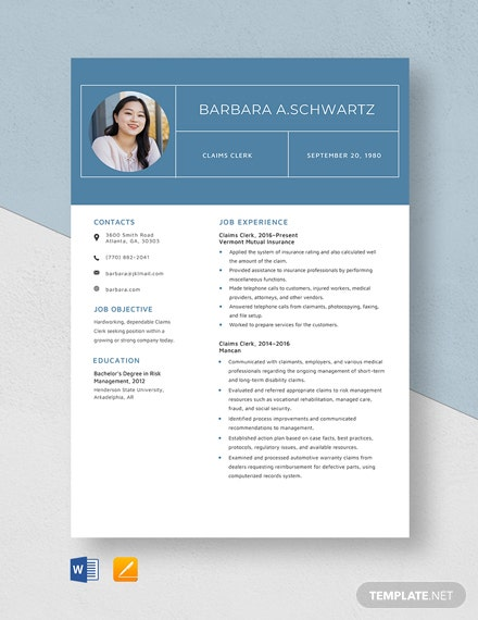 Claims Clerk Resume Template