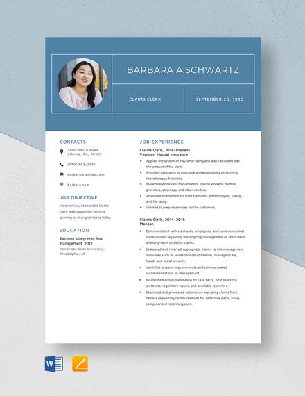 Claims Clerk Resume Template