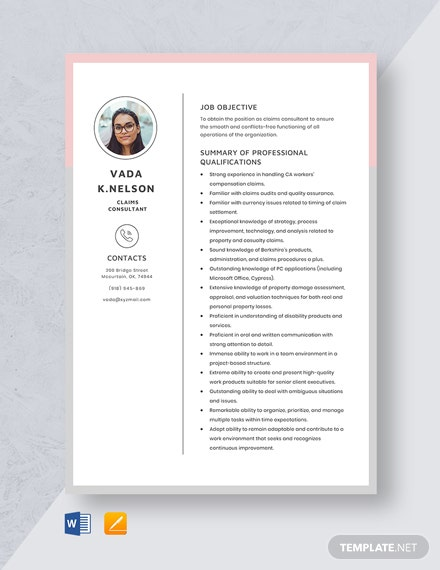 Claims Consultant Resume Template