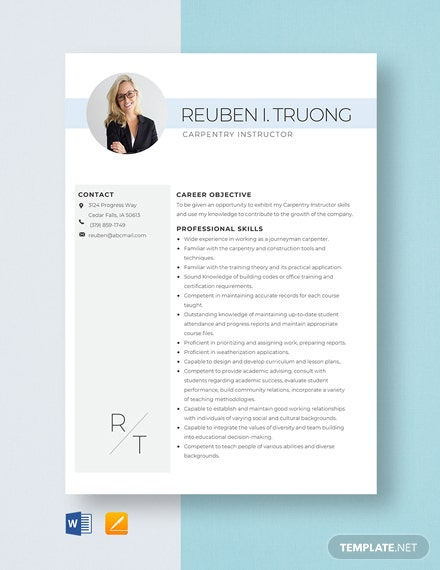 Carpentry Instructor Resume Template