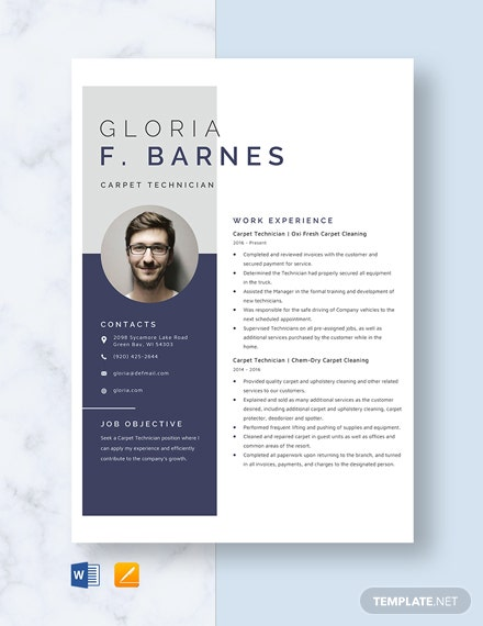 Carpet Technician Resume Template