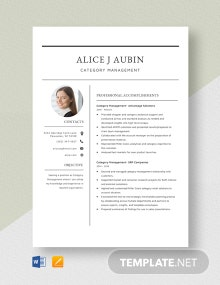 Category Management Resume Template