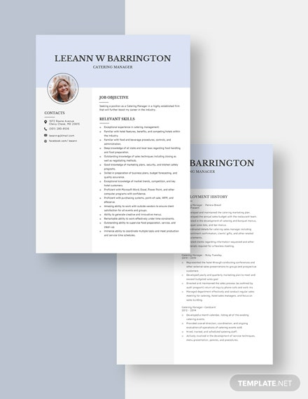 Catering Manager Resume Download