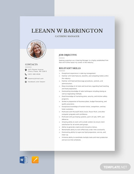 Catering Manager Resume Template