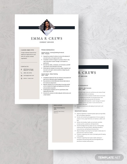 Cement Driver Resume Download