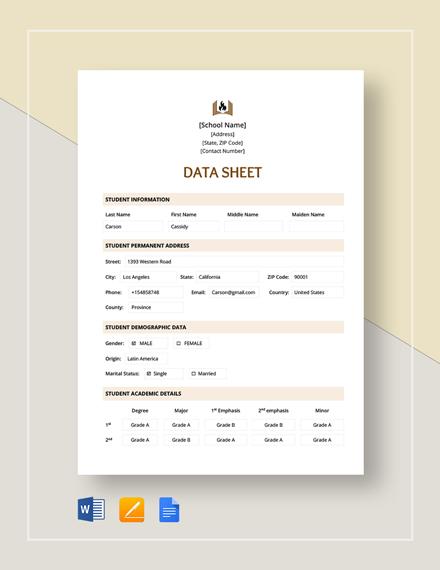 Data Sheet Template