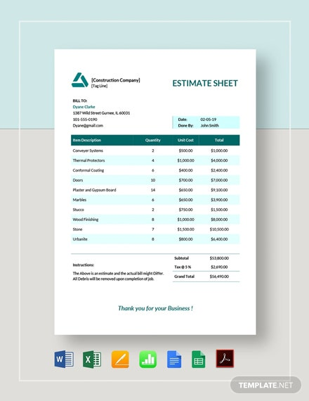 Estimate Sheet Template