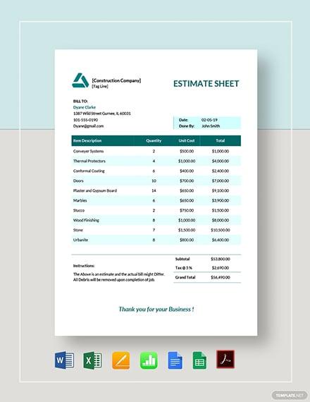 Estimate Sheet Template