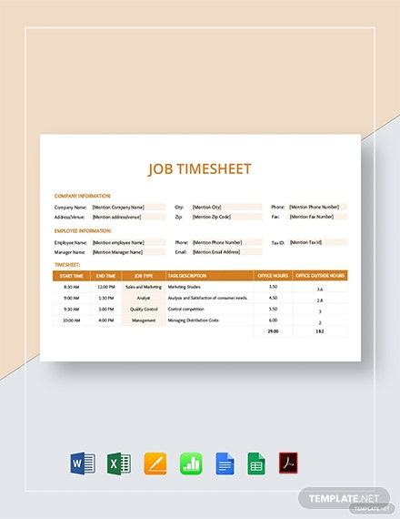 Job Timesheet Template