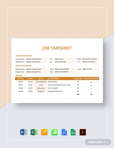 Job Timesheet Template