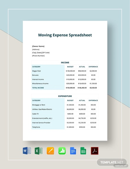 Moving Expenses Spreadsheet Template