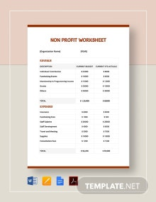 Non Profit Sheet Template
