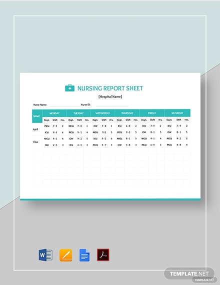 Nursing Report Sheet Template