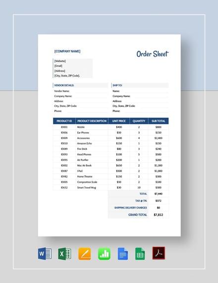 Order Sheet Template