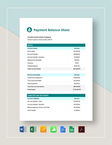 Payment Balance Sheet Template