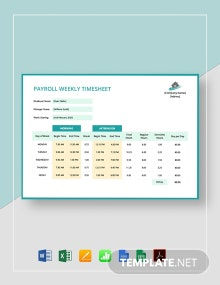 Payroll Weekly Timesheet Template